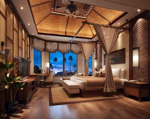东南亚风格自然舒适室内卧室装修效果图