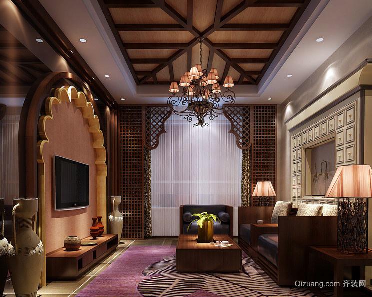 古典欧式风格精致典雅客厅电视背景墙装修效果图