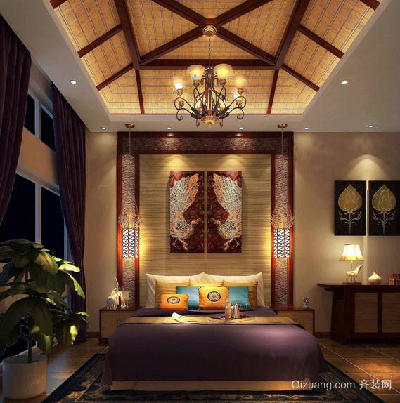 现代东南亚风格精致卧室照片墙装修效果图