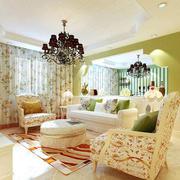 100平米三居室欧式田园风格客厅装修效果图