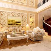 复式楼欧式田园风格自然楼梯装修效果图