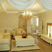 100平米三居室欧式精致客厅电视背景墙装修效果图