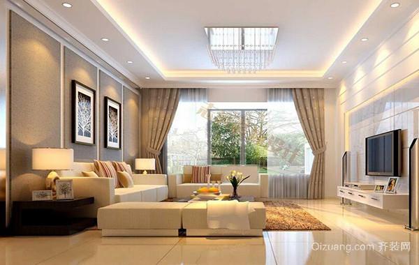 别墅现代简约风格客厅吊顶装修效果图实例