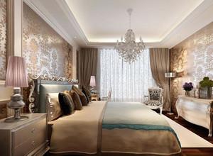 经典的欧式别墅型卧室背景墙装修效果图