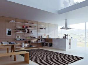 80平米现代简约风格时尚开放式厨房装修效果图