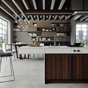 后现代风格简约时尚开放式厨房装修效果图