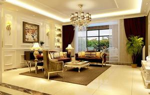美式田园风格大户型精致客厅装修效果图赏析