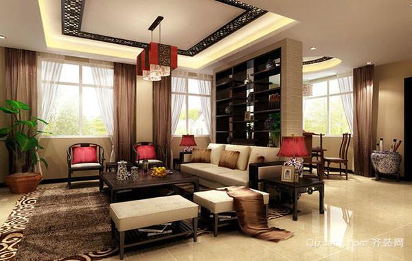 中式风格大户型稳重大气室内客厅装修效果图