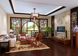 120平米现代中式风格精致客厅吊顶装修效果图