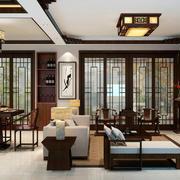 80平米现代中式风格精致客厅餐厅一体装修效果图