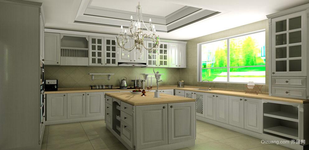 经典别墅型欧式风格精致开放式厨房装修效果图