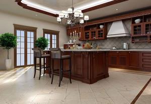 美式乡村风格精致开放式厨房装修效果图