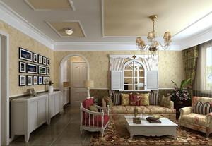 欧式田园风格精致客厅照片墙装修效果图