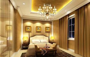 别墅型欧式风格卧室背景墙装修效果图实例