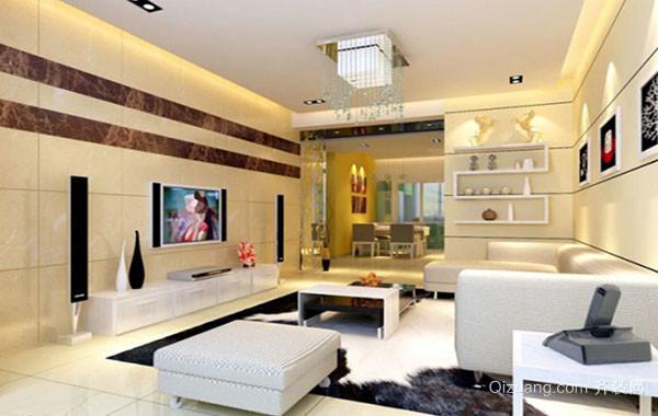 110平米现代简约风格精致客厅电视背景墙装修效果图