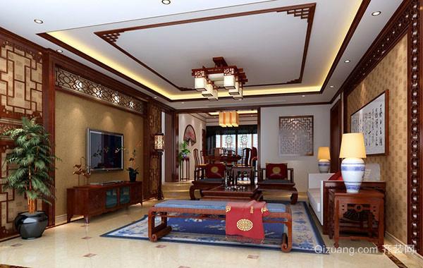 现代中式风格精致客厅电视背景墙装修效果图