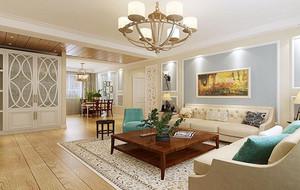 别墅型美式风格客厅吊顶装修效果图鉴赏