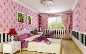 可爱粉色主题现代简约儿童房装修效果图