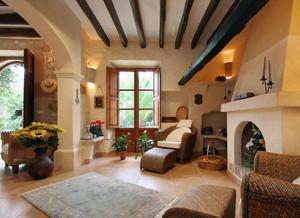 现代大户型地中海风格客厅吊顶装修效果图