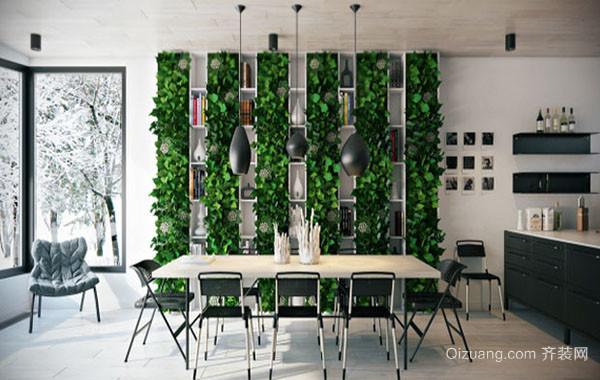 现代简约时尚创意餐厅背景墙装修效果图