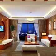 东南亚风格大户型客厅电视背景墙装修效果图