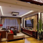 现代中式混搭时尚大户型客厅装修效果图