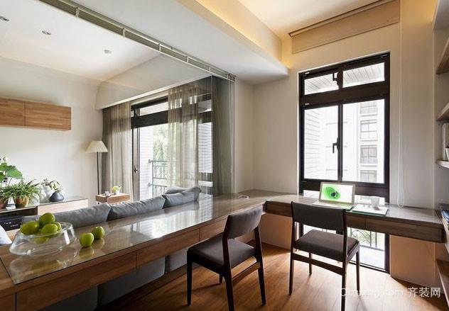 120平米现代简约风格客厅开放式书房装修效果图
