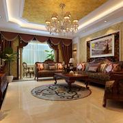 古典欧式风格富丽堂皇别墅客厅吊顶装修效果图