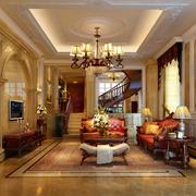 别墅型欧式风格精致典雅客厅装修效果图