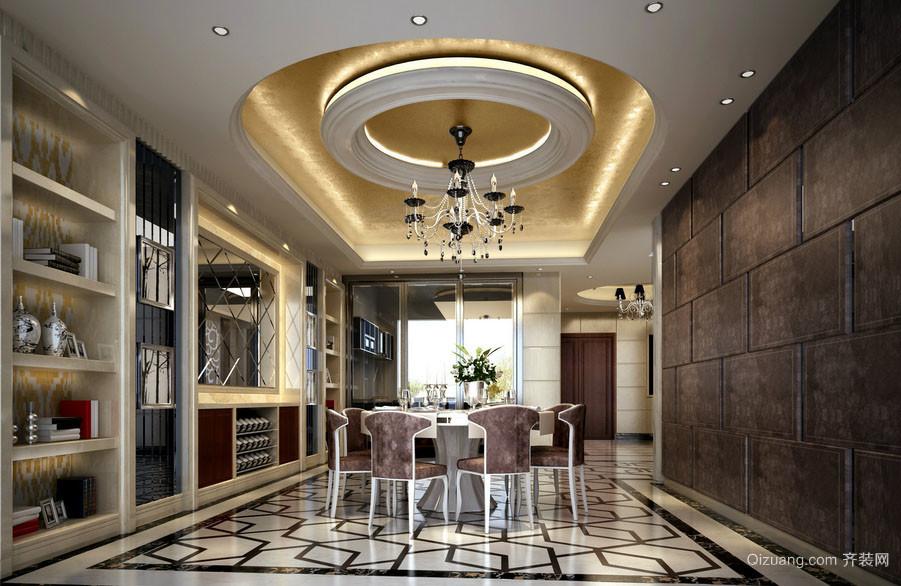 简约欧式风格别墅豪华餐厅吊顶装修效果图