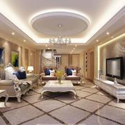 简欧风格别墅型精致时尚客厅电视背景墙装修效果图