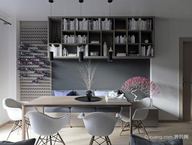 100平米后现代风格灰色主打简约餐厅装修效果图