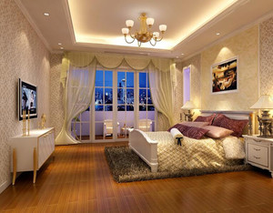 经典唯美大户型欧式卧室背景墙装修效果图