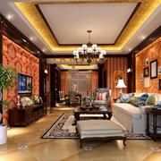 古典美式风格精致别墅客厅吊顶装修效果图赏析