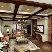 复式楼美式田园风格精致客厅装修效果图