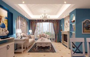 120平米地中海风格自然轻快客厅装修效果图大全