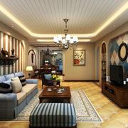 120平米大户型地中海风格精致客厅电视背景墙装修效果图