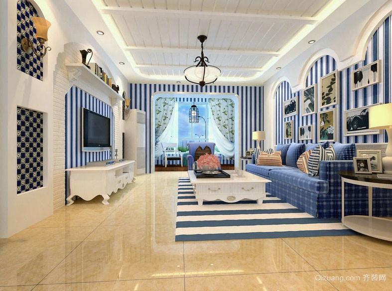 简约地中海风格精致自然大户型客厅装修效果图