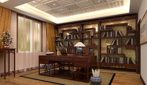 2016年新款别墅中式风格精致大书房装修效果图