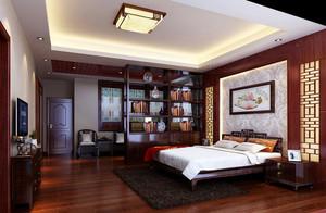 大户型中式风格精致卧室背景墙装修效果图
