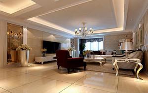100平米欧式大户型客厅室内设计装修效果图实例