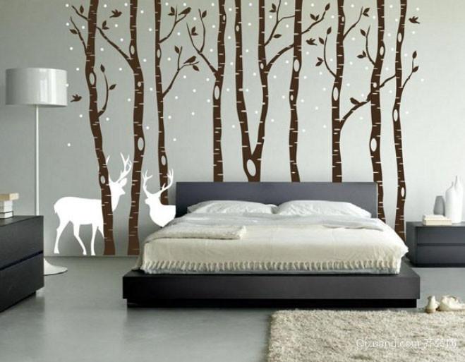 120平米三居室北欧风格自然舒适卧室照片墙装修效果图
