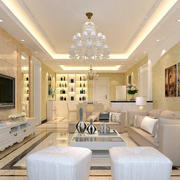经典简欧风格精致大户型客厅餐厅听酒柜装修效果图