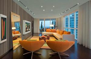 后现代风格创意时尚80平米室内客厅装修效果图