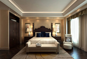 美式乡村风格大户型精致卧室背景墙装修效果图