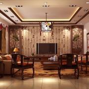 2016别墅型中式风格客厅装修效果图实例