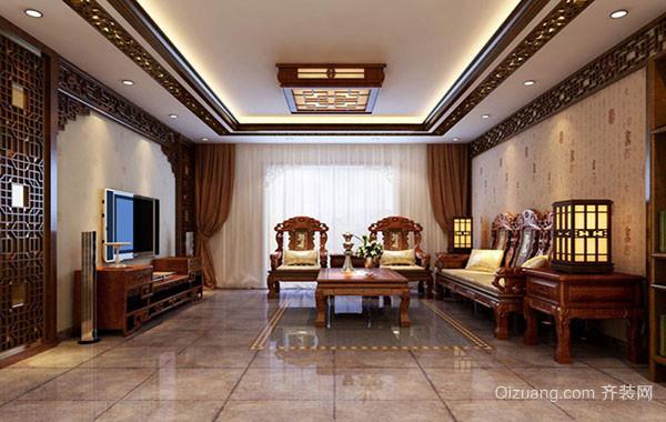 中式风格稳重典雅大户型客厅吊顶装修效果图赏析
