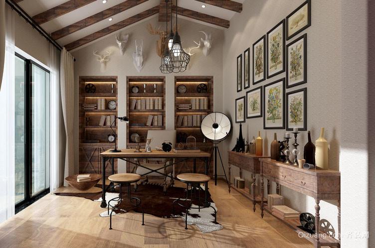 现代美式乡村风格简约时尚大户型书房装修效果图
