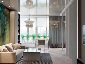 80平米现代简约时尚创意单身公寓装修效果图