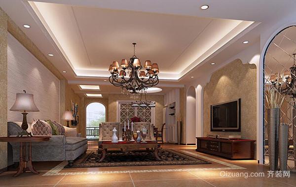 别墅型简欧风格客厅吊顶装修效果图鉴赏